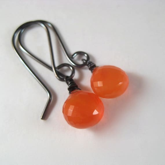 Gemstone Earrings, Faceted Orange Carnelian Oxidized Sterling Earrings Halloween