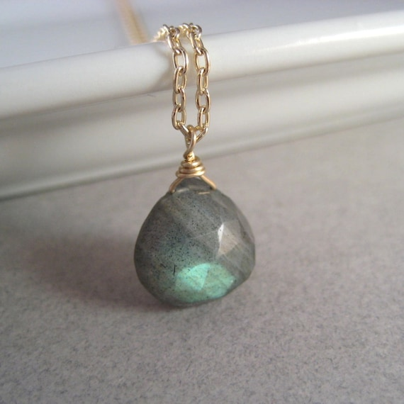 Labradorite Necklace, Faceted Labradorite Briolette Gold-Filled Chain Necklace