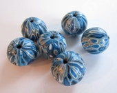Winter Blues Handmade Polymer Clay  Beads Jewelry Supplies