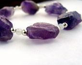 Rough gemstone bracelet,  purple amethyst bracelet, rainbow moonstone silver bracelet