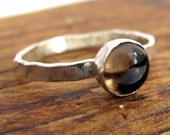 Handmade sterling silver and smoky quartz solitaire or stacking ring  Not guaranteed for Christmas