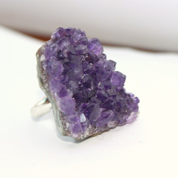 Raw purple amethyst silver adjustable ring