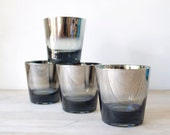 Vintage Mercury Ombre Glasses - Mid Century Modern Silver Ombre Barware - Cocktail Glasses - Set of 4