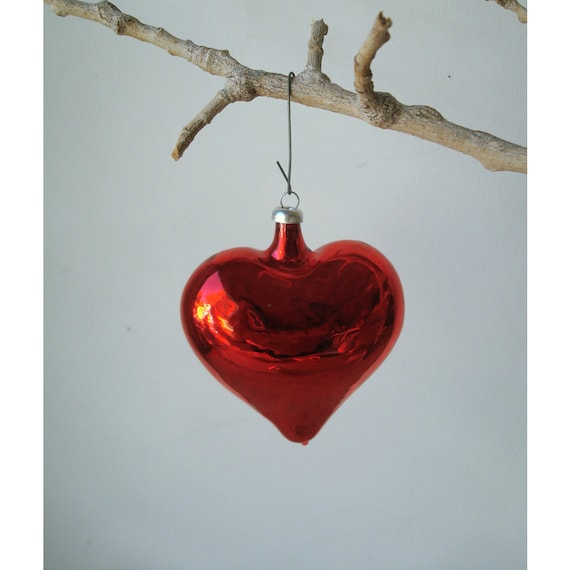 Vintage Christmas Tree Ornament - Red Heart - Made in Germany