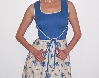 Maxi Summer Dress Leslie Fay Blue and White, Gown  sz S