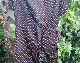 Vintage Harrods Black Dot Dress ...Red and Yellow with side tail