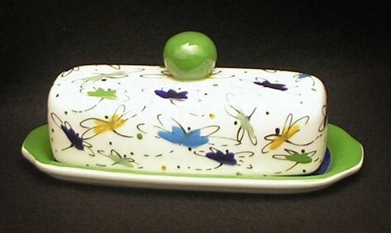 Butter Dish.Multi Colored Dragonfly Butter Dish. Blue. Green. Light Green. Knob. Butter. Handmade by Sara Hunter Designs.