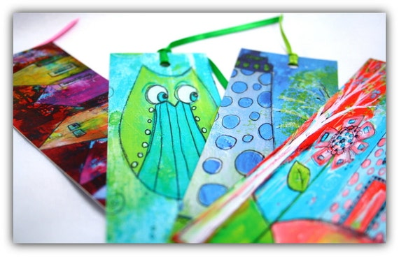 Owl bookmark Leap of Faith in teal and lime green funky mini gift by Jodi Ohl