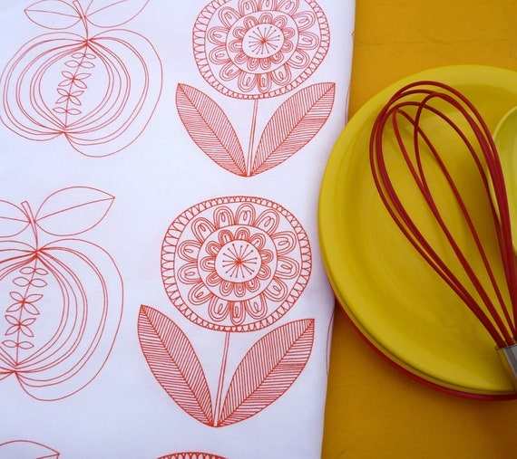 New Scandinavian Screen Printed Apple and Flower Tea Towel Fabric by Jane Foster