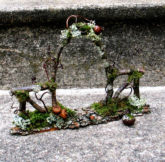 Faery Garden Gate, Custom Order, natural materials, dollhouse, woodland, rustic, waldorf, fairy, miniatures