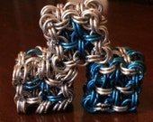 Blue and Silver Chainmaille D6