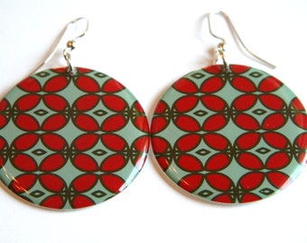 Bright Aqua & Red Orange Design Large Resin Earrings with Sterling Ear Wires