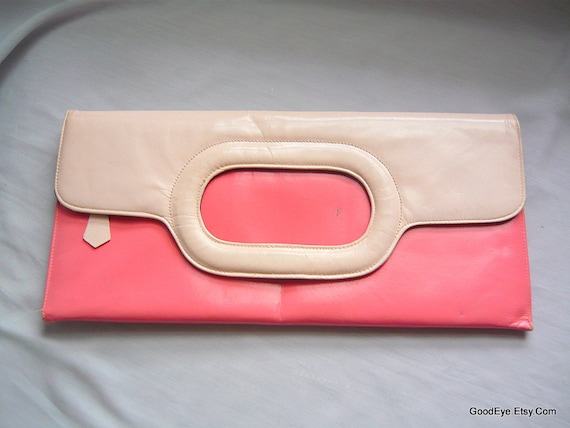 Vintage 60s LENNOX Clutch Purse Pink Leather Hand Bag Long