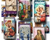 1 x 2,  Madonna and Child,  INSTANT  DIGITAL DOWNLOAD at Checkout, religious collage sheets for  domino tiles, catholic images, Mary