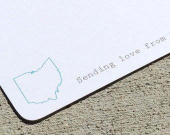 State Personalized Note Cards - Stationery - Personalized Note Cards - Any State, Province or Country