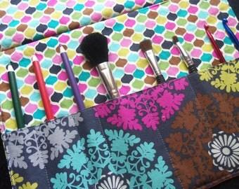 Makeup brush roll , makeup brush holder, Crochet hook organizer,
