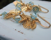 Earrings - Matte Gold Leaves -  Aquamarine Crystals  - 14k Gold Filled Earwires