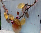Handmade Leaf Necklace Burgandy Pearl Soocho Jade Golden Leaves Wire Wrapped Wire Jewelry