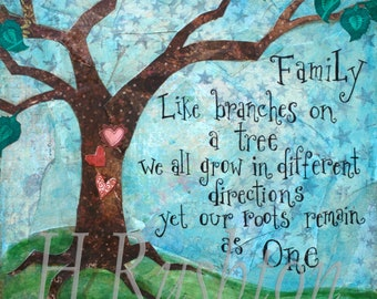 Family Quote ,Family Tree Art, Mixed Media Art Print , Home Decor, Wall Art, Mothers Day Gift 8x8""