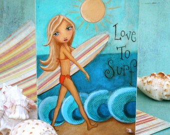 Children Decor Surfer Girl Wall Art Wood Shelf Block Art Mixed Media 4 x 6
