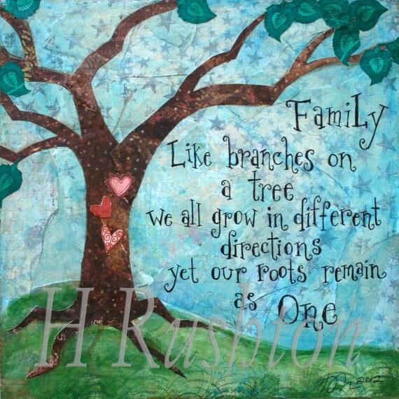 Inspirational Family Quotes: Family Quote Family Tree Art Mixed Media Art Print Home