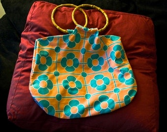 Retro Style Beach Tote with Bamboo Handles