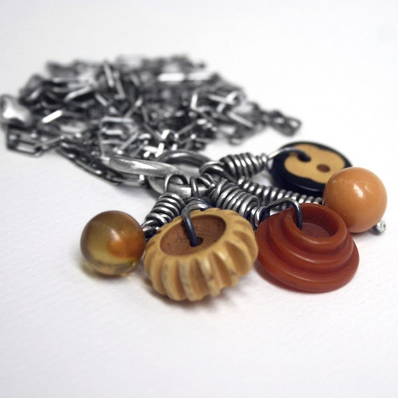 Bakelite Buttons Sterling Charm Necklace Long Chain Vintage . Gramma's Sewing Box III