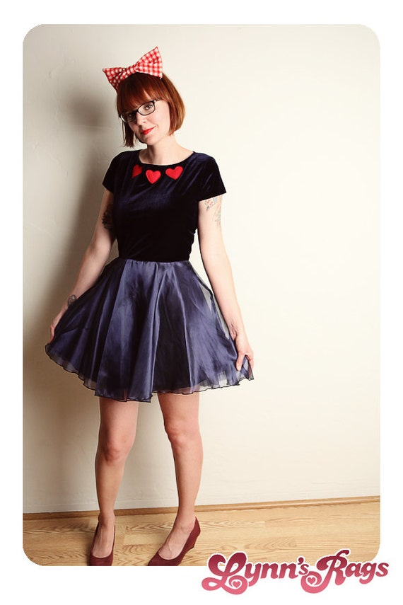 Navy Blue Red HEART Twirl Mini DRESS Retro Handmade Velvet