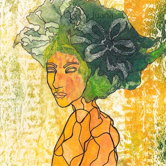 collage, 6 x 6, female portrait, yellow, green