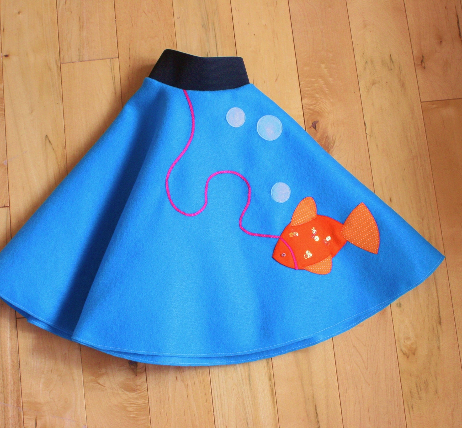 poodle skirt in blue goldfish style size by