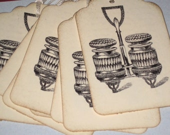 8  Antique Salt and Pepper shakers  Gift Tags