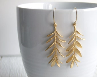 Maile Lei Leaf Jewelry Earrings - 16K Gold Plated - Woodland Jewelry - Under 40 - Gift for Her - Girlfriend - Laurel - Valentines Day Gift