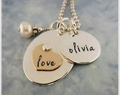 Personalized Necklace for Mom - Silver Gold Heart Necklace - Hand Stamped Jewelry