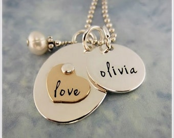 Personalized Mother's Necklace - Kids Name Necklace - Hand Stamped Jewelry - Mom Necklace - Love Necklace - Silver Gold Heart Necklace -