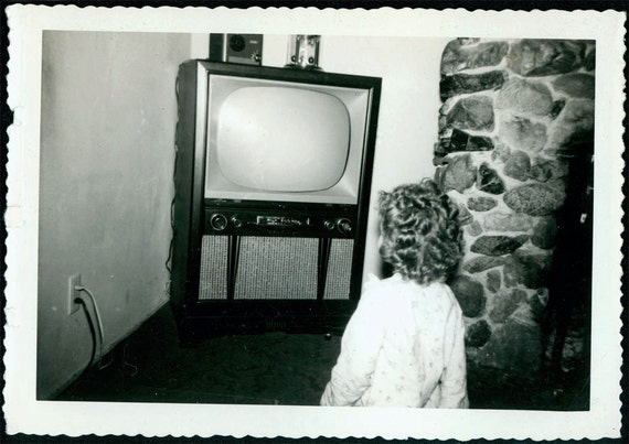 vintage photo unusual Television TV and Back of Childs Head