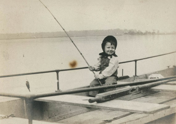 Vintage photo little girl fishing with pole 1910 for Little girl fishing pole