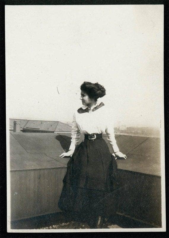 vintage photo 1914 Lady Tiny Waist Poses on Roof