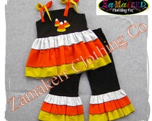 Custom Boutique Clothing Girl Candy Corn Outfit Set Halloween Black Orange Pageant Tiered Pant 3 6 9 12 18 24 month size 2T 3T 4T 5T 6 7 8