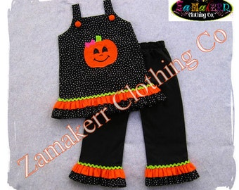 Girl Pumpkin Outfit Set Fall Halloween Custom Boutique Clothing Costume Top Black Pant Pageant 3 6 9 12 18 24 month size 2T 3T 4T 5T 6 7 8