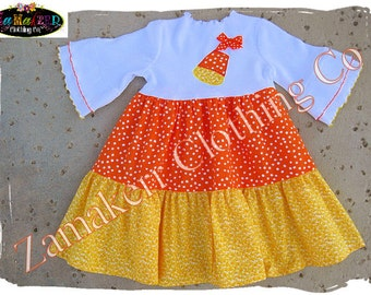 Custom Boutique Clothing Girl Candy Corn Halloween Tiered Knit Tee Toddler Baby Outfit Dress Set 3 6 9 12 18 24 month size 2T 3T 4T 5T 6 7 8