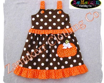 Girl Pumpkin Patch Jumper Dress Halloween Fall Pageant Birthday Custom Boutique Clothing Outfit 3 6 9 12 18 24 month size 2T 3T 4T 5T 6 7 8