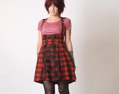 Red High Waist Skirt - High waisted jumper skirt - Red and black plaid and lace - Sz M