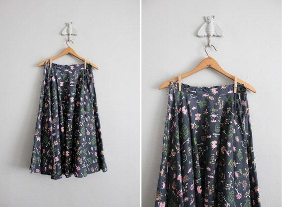 SALE - 1950s circle skirt / vintage 50s skirt / novelty print skirt