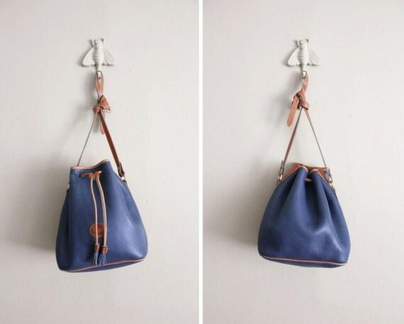 vintage Dooney & Bourke bag / leather drawstring purse