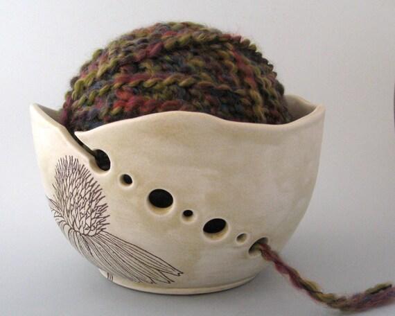 Yarn Bowl - Echinacea  - Botanical - Hand Thrown Ceramic Stoneware Pottery