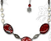 Shabby Chic Red and Black Paisley Trio Glass Necklace - Trioz Botanicalz Collection by Tzaddishop - Flourish