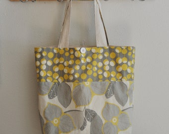 Roll Up Market Bag - Optic Blossom in Linen