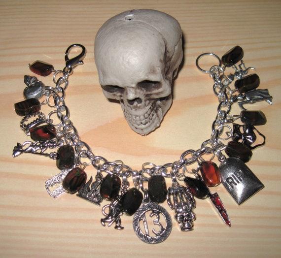Halloween Charm Bracelet Unlucky 13 Thirteen Glass Beads Jewelry Evil Horror Dead Death Goth OOAK Eclectic Statement Piece