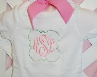 Framed Monogrammed Onesie Boy or Girl