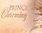 Made To Order Natural White Linen Cotton Blend Ruffled Pillow SLIP COVER ONLY Brown Prince Charming and Blue Crown Design